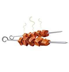 Meat kebab grilled vector