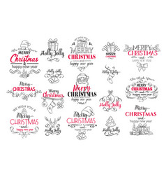 merry christmas festive typography set vector image