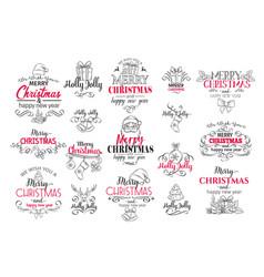 merry christmas festive typography set vector image