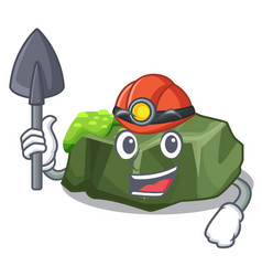 Miner cartoon large stone covered with green moss vector