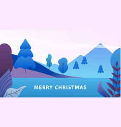 Minimal christmas landscape winter abstract vector