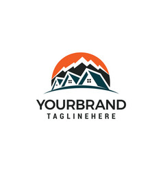 mountain house logo template design vector image