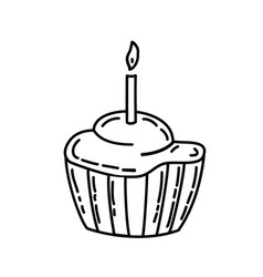 muffin icon doddle hand drawn or black outline vector image