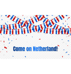 netherland flags garland on transparent vector image