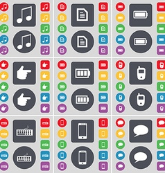 Note Text file Battery Hand Mobile phone Keyboard vector image