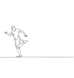One single line drawing young happy man vector
