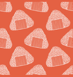 Onigiri pattern in hand-drawn style vector