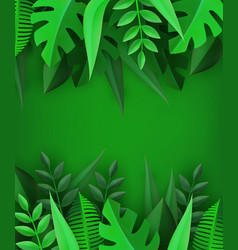 Paper art style natural border frame with various vector