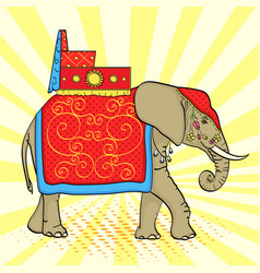Pop art background elephant in india a sacred vector