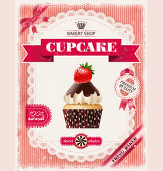 poster of confectionery bakery with cupcakes vector image