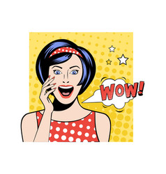 pretty woman with surprised face expression white vector image