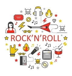 Rocknroll line art thin icons set vector