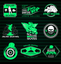 Roller skating emblems vector