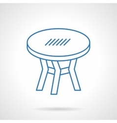 Round table blue flat line icon vector image