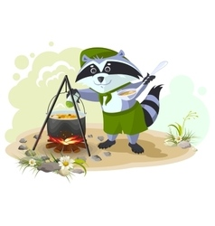 Scout raccoon cooking soup over campfire Summer vector