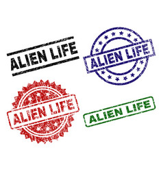Scratched textured alien life seal stamps vector