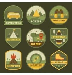 set vintage camping logos vector image