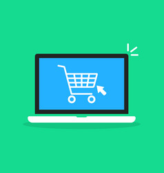 shopping cart in cartoon laptop vector image