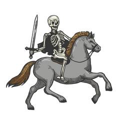 Skeleton warrior on horse sketch vector