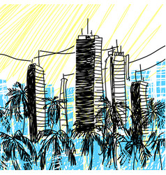 sketch city architecture vector image