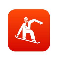 Snowboarder icon digital red vector