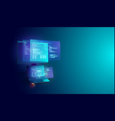 software and program development on laptop and pc vector image