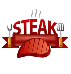 steak badge vector image