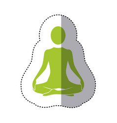 sticker green silhouette woman sitting yoga vector image