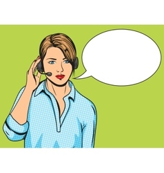 Technical support woman with phone pop art vector