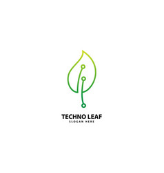 Technology leaf logo with monoline style vector