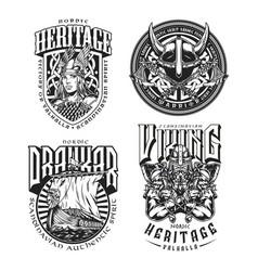 Viking vintage designs set vector
