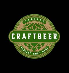 vintage retro old hop craft beer label logo design vector image