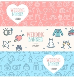 Wedding Banner Flyer Horizontal Set vector image