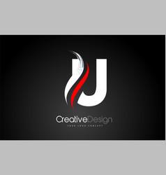 White and red u letter logo design brush paint vector