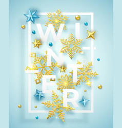 winter background with shining snowflakes balls vector image