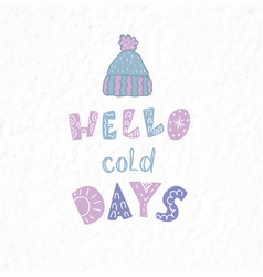 Winter postcard with quotes phrases and the vector