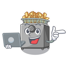 With laptop cartoon deep fryer in the kitchen vector