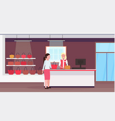 Woman customer new handbag at cash desk counter vector