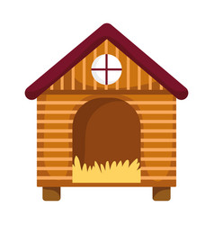 Wooden hen house farm isolated icon on white vector