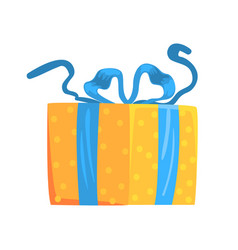 yellow gift box with blue ribbon cartoon vector image