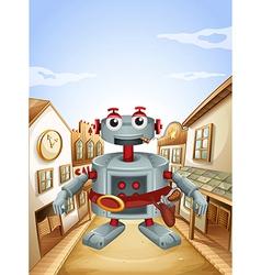 A village with a robot vector