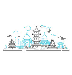 asian countries - line travel vector image vector image