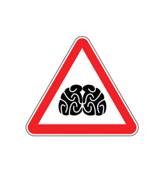 brains warning sign red think hazard attention vector image vector image