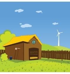 Cartoon farm background vector image vector image