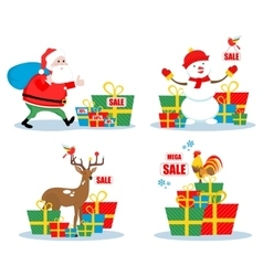 Christmas sale characters vector image vector image