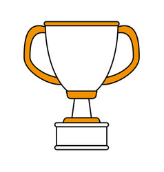 Color silhouette cartoon cup trophy with double vector