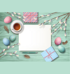 easter top view background vector image vector image