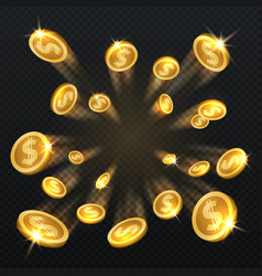 golden dollar coins explosion isolated vector image vector image