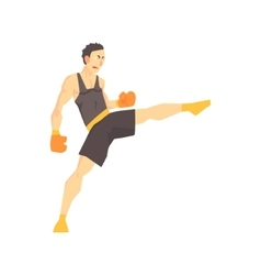 Man In Boxing Gloves And Black Uniform Kickboxing vector image vector image