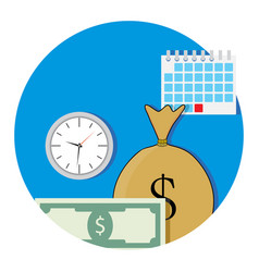 money and business time icon flat vector image vector image